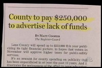 County Pays to Advertise Lack of Funds.