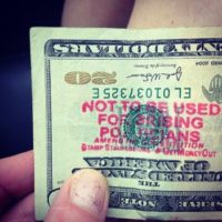 20 Dollar Bill - Text: Not to be used by politicians